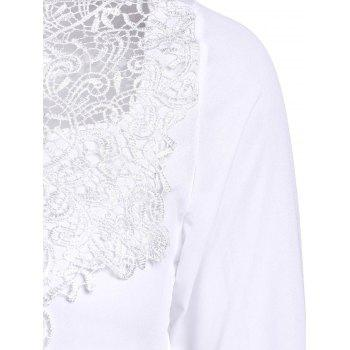 Simple Round Collar Solid Color See-Through Women's Long Sleeve Blouse - WHITE L