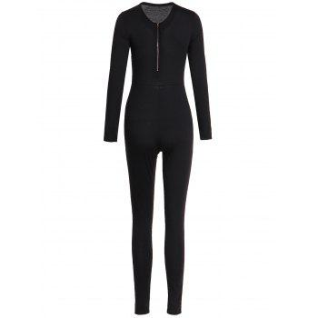 Solid Color Zippered V-Neck Long Sleeve Bodycon Jumpsuit For Women