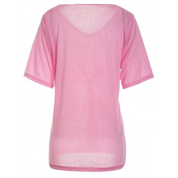 Casual Scoop Neck Solid Color Half Sleeve Women's T-Shirt - PINK L