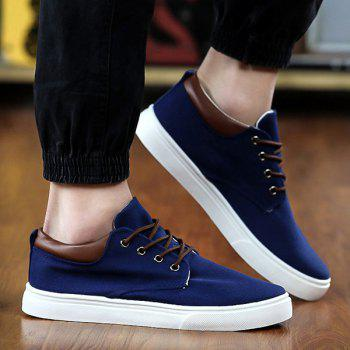Simple  Solid Color and Lace-Up Design Men's Canvas Shoes