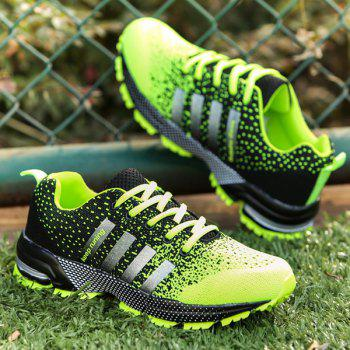 Trendy Gradient Color and Lace-Up Design Men's Athletic Shoes - NEON GREEN 41