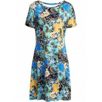 Stylish Scoop Collar Short Sleeve Plus Size Printed Women's Dress