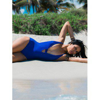 Strappy Backless Blue One-Piece Swimsuit de femmes élégantes - Bleu S