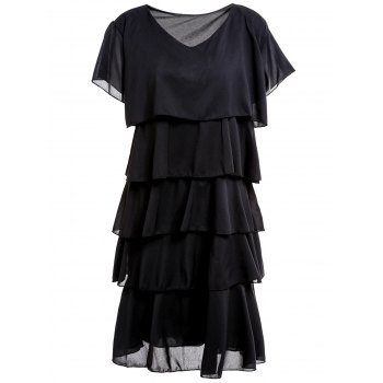 Stylish Scoop Collar Short Sleeve Pure Color Layered Women's Dress