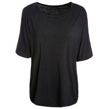 Trendy Batwing Sleeve Scoop Neck Loose-Fitting Solid Color Women's T-Shirt