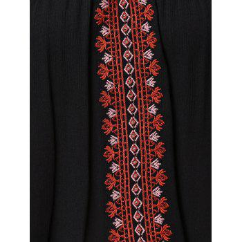 Stylish Embroidered Convertible Design Women's Tank Top - BLACK 2XL