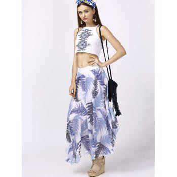 Stylish Round Neck Crop Top + Print Asymmetrical Skirt For Women - WHITE WHITE