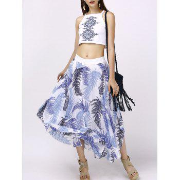Stylish Round Neck Crop Top + Print Asymmetrical Skirt For Women