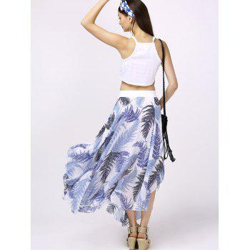 Stylish Round Neck Crop Top + Print Asymmetrical Skirt For Women - WHITE M