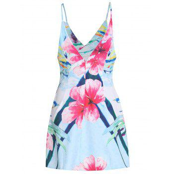 Sexy Spaghetti Strap Sleeveless Floral Print Women's Mini Dress - COLORMIX S