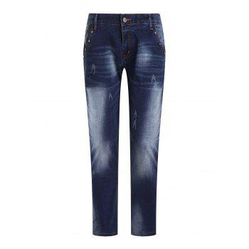 Men's Fashion Ripped Zip Fly Straight Legs Cropped Jeans