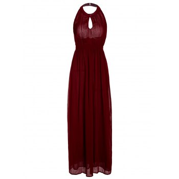 Charming Halter Sleeveless Cut Out Solid Color Women's Dress