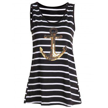 Stylish Women's Scoop Sequined Striped Tank Top