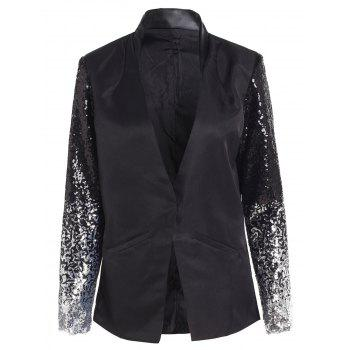 Chic Women's Plunging Neck Sequined Long Sleeve Blazer
