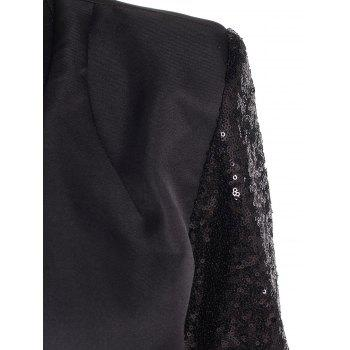 Chic Women's Plunging Neck Sequined Long Sleeve Blazer - BLACK L