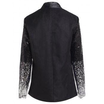 Chic Women's Plunging Neck Sequined Long Sleeve Blazer - BLACK M