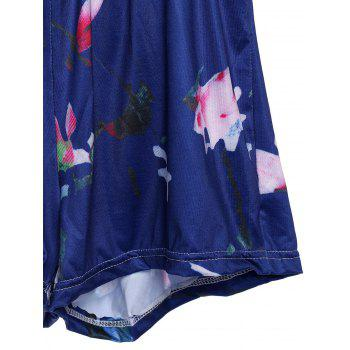 Stylish Women's Plunging Neckline Floral Print Open Back Romper - PURPLISH BLUE XL