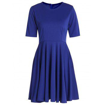 Elegant Women's Round Neck 1/2 Sleeve A-Line Dress - BLUE S
