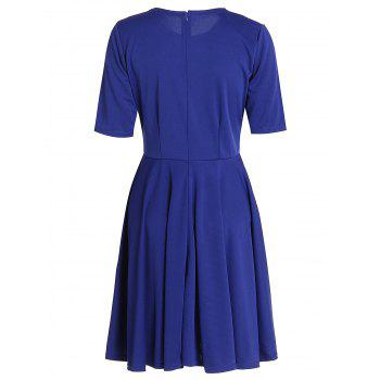 Elegant Women's Round Neck 1/2 Sleeve A-Line Dress - 2XL 2XL