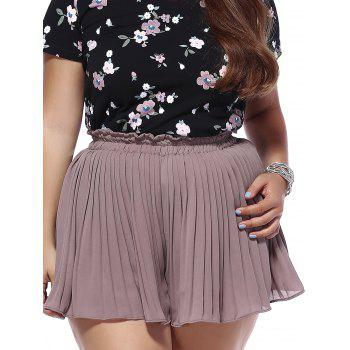 Trendy Plus Size Pleated Solid Color Women's Shorts