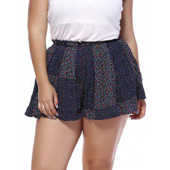 Trendy Plus Size Tiny Floral Pattern Pleated Women's Shorts