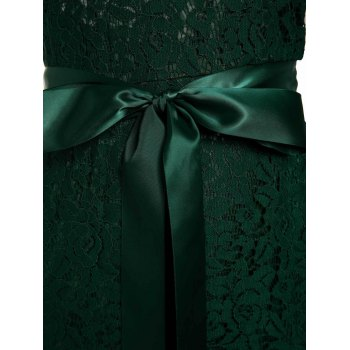 Chci Sleeveless V-Shape Backless Hollow Out Lace Maxi Dress For Women - GREEN M