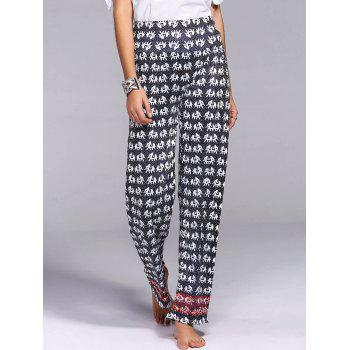 Stylish Mid-Waisted Wide Leg Elephant Print Women's Exumas Pants