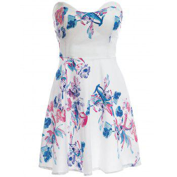 Sexy Sleeveless Strapless Floral Print Women's Dress