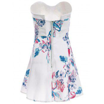 Sexy Sleeveless Strapless Floral Print Women's Dress - WHITE S