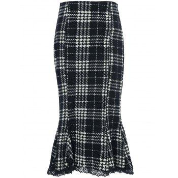Stylish Women's Houndstooth Buttoned Midi Fishtail Skirt - L L