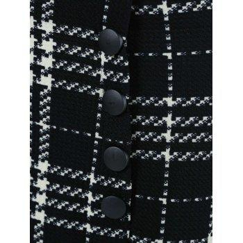 Stylish Women's Houndstooth Buttoned Midi Fishtail Skirt - WHITE/BLACK WHITE/BLACK