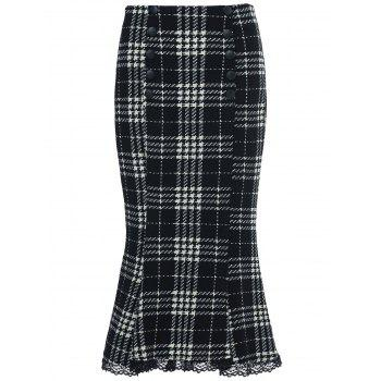 Stylish Women's Houndstooth Buttoned Midi Fishtail Skirt - WHITE AND BLACK L