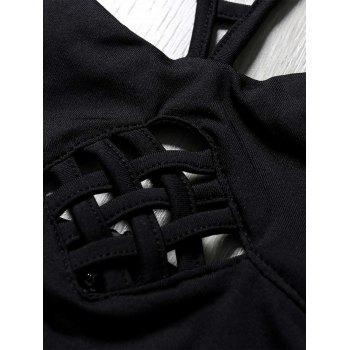 Women's Strappy Hollow Out Zippered Crop Top - BLACK L