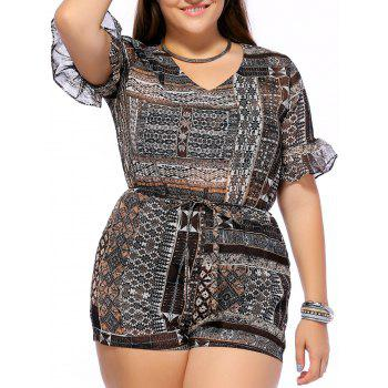 Chic Plus Size Printed V Neck Flare Sleeve Women's Romper