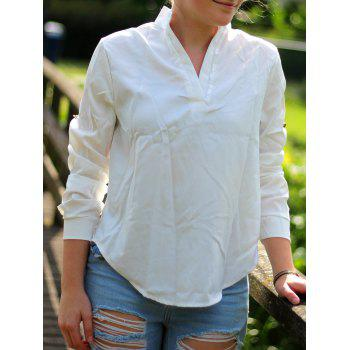 Stylish Plunging Neck 3/4 Sleeve Asymmetrical Pure Color Women's Blouse