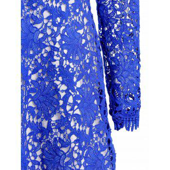 Cut Out Plunging Neck Long Sleeve Lace Dress - BLUE S