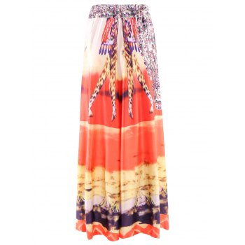Bohemian Style Women's Mid-Waisted Printed Skirt - JACINTH ONE SIZE(FIT SIZE XS TO M)