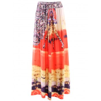 Bohemian Style Women's Mid-Waisted Printed Skirt