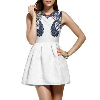 Stylish Jacquard Floral Print Mini Flare Dress