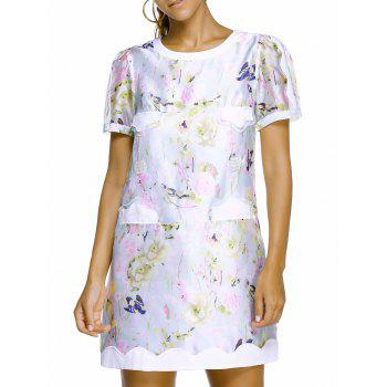 Charming Short Sleeve Round Neck Spliced Floral Print Women's Dress