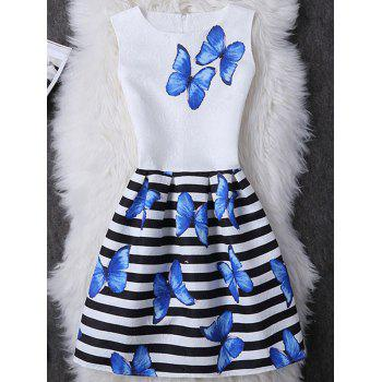 Fashionable Sleeveless Round Neck Striped Slimming Butterfly Print Women's Dress