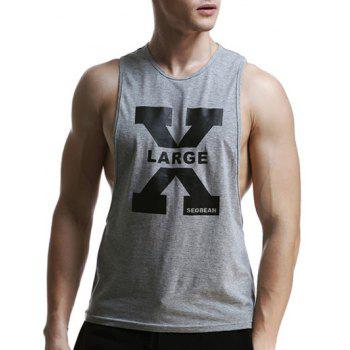 X Letter Print Cotton Blends Round Neck Men's Tank Top
