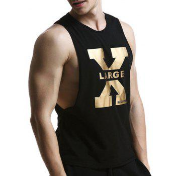 X Letter Print Round Neck Graphic Tank Top - BLACK M