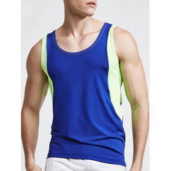 Buy Linellae Design Round Neck Quick-Dry Solid Color Men's Tank Top SAPPHIRE BLUE
