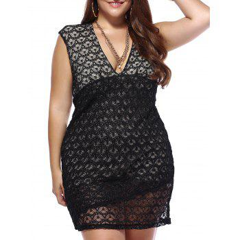 Allluring Plus Size Hollow Out Plunging Neck Women's Bodycon Dress