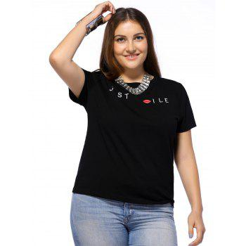 Chic Plus Size Letter and Lip Pattern Women's T-Shirt - BLACK 2XL