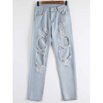 Stylish Hole Design Mid-Waisted Women's Jeans - BLUE M