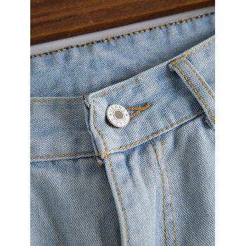 Stylish Hole Design Mid-Waisted Women's Jeans - L L