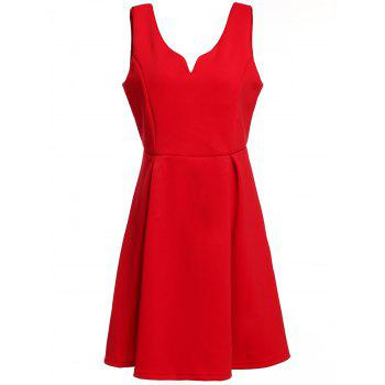 Retro Style Candy Color V-Neck Sleeveless Dress For Women - RED S