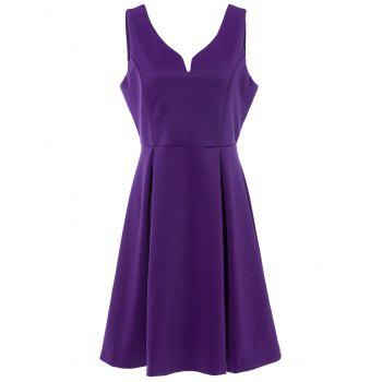 Retro Style Candy Color V-Neck Sleeveless Dress For Women - PURPLE PURPLE